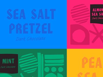 Chocolate Branding food branding food snack chocolate almond pretzel identity typographic mint sea salt peanut dark chocolate cpg organic label design label packaging branding