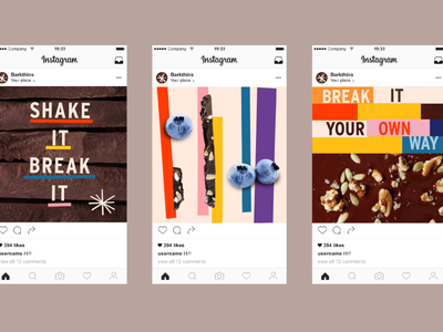 Chocolate Branding pt 2 typographic social post snacking shape organic food cpg blueberry visuals social instagram branding chocolate