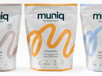 Muniq Packaging shake brand identity gut health probiotic prebiotic branding design label label design packaging identity cpg branding