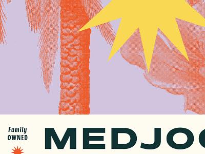 Medjool Date Branding Exploration desert sun superfood medjool dates yellow orange purple halftone typography cpg branding design label label design packaging identity branding