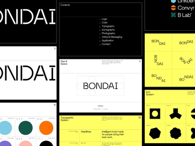 BONDAI Brand Identity pt 2 paper system letterhead business card visual identity system tech logo icons iconography incubator product tech guidelines typography branding design identity branding