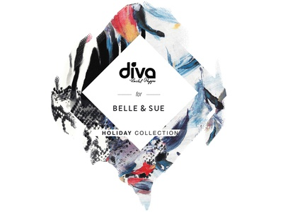 Identity for Diva swimwear x Belle & Sue swimwear diva graphic identity pattern tag holiday collection floral print brush brush strokes