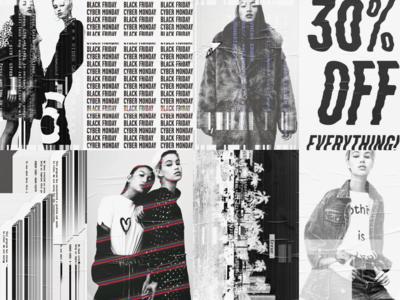 Cyber Monday 2017 Campaign Posters sale distort model fashion poster glitche glitch black friday cyber monday