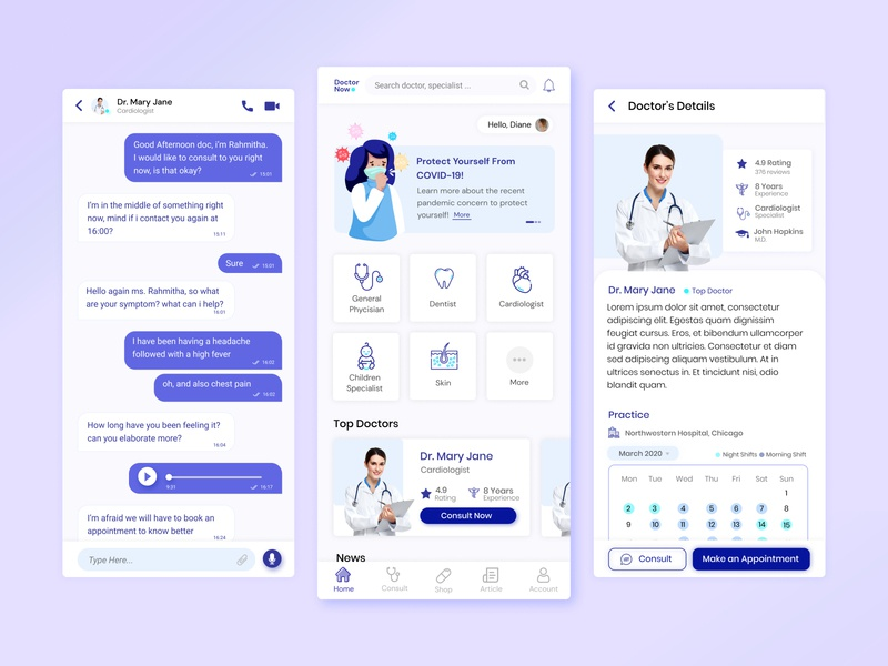 DoctorNow - Application for Consulting to Doctors