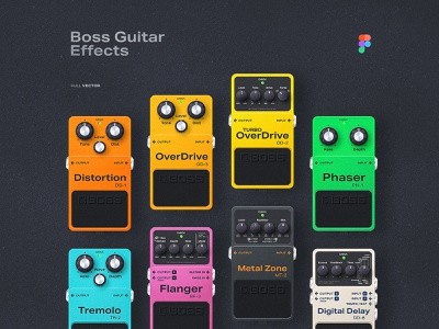 Guitar Effects Made In Figma [for you for free 🎸] product design figma illustration vector vector graphic guitar guitar effects stompbox boss effects sound music design frieebie free illustration kit free kit made in figma neumorphic skeuomorphism skeuomorph skeuomorphic