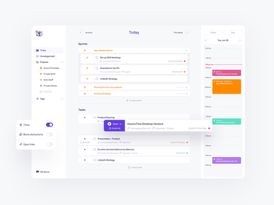 KosmoTime Task Manager ui design uxdesign ux ui sprint calendar management calendar app calendar ui calendar gtd task list tasks to do list to do app task management task manager task