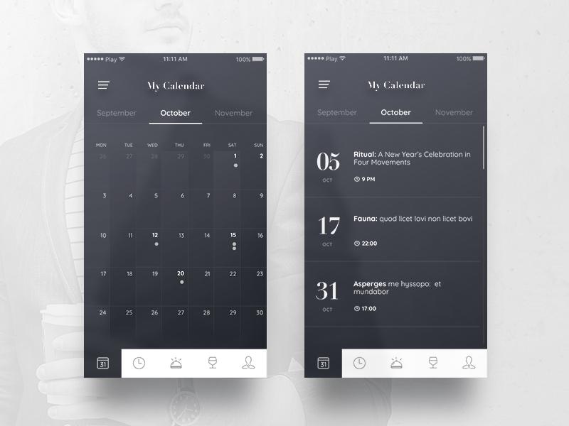 Calendar screens