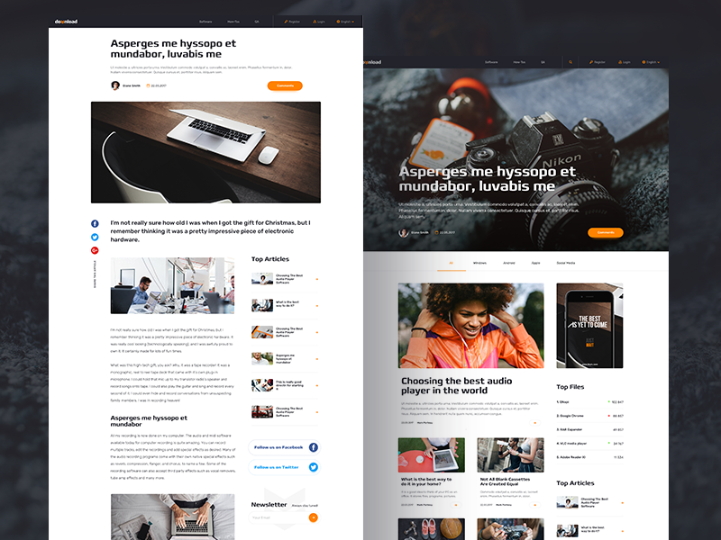 H&A black and orange orange black long page camera read articles download files download technology website article homepage