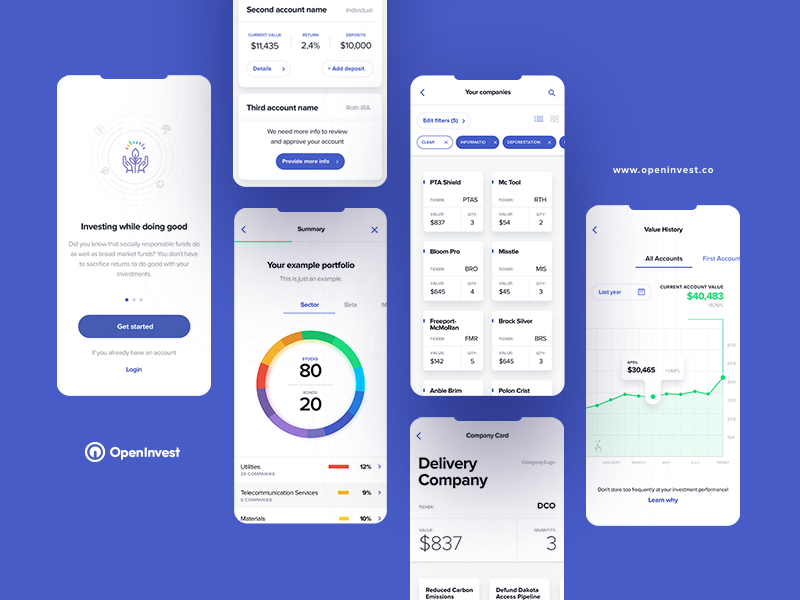 OpenInvest part I iphone x color wheel blue tonik mobile app app invest investing
