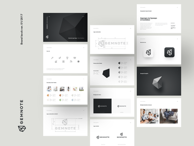 Gemnote Brand guidelines logo brand book brand black and white gems gifts