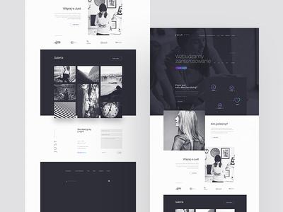 JustyJusty minimal simple flat vivid violet landing page kosma black and white gallery merchandising agency
