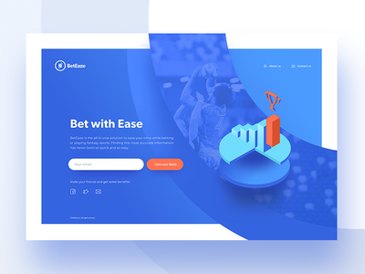 BetSite betting sport growth growing graphs circles simple blue orange landing page web