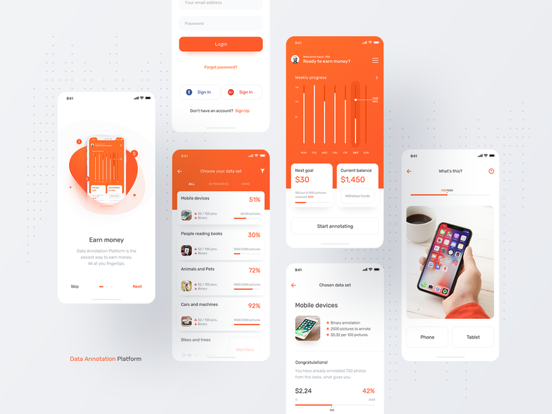 Data Annotation Platform App product product design minimal app application iphone x netguru image annotation machine learning orange ios ios app minimal