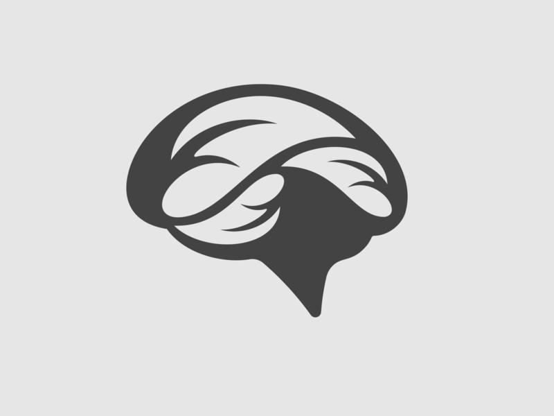 Brain and leaf illustration icon logo design