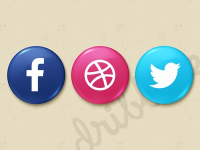 Candy Social Media Icons (free psd) ui ux button social dribbble plastic glossy twitter facebook draft invite psd
