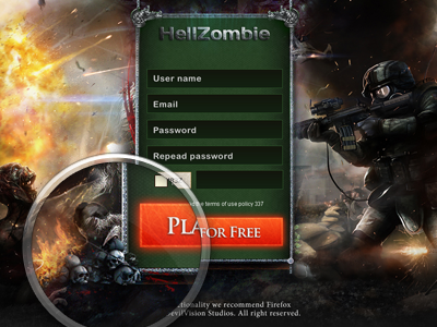 Hellzombie - Browser Based Game game browser based promo homepage zombie hell solider