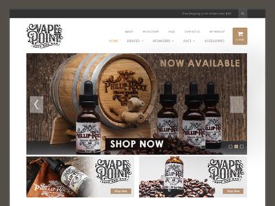 Vape point theme e-liquid online store shop webdesign cigarettes flavors supplies shopify magento