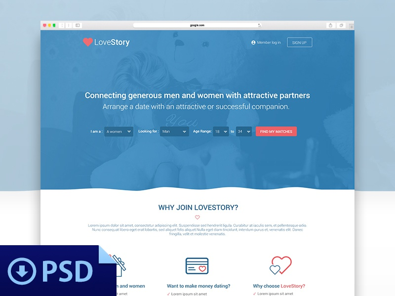Dating Website Theme - Free Psd template dating website free psd theme web design love story photoshop blue heart