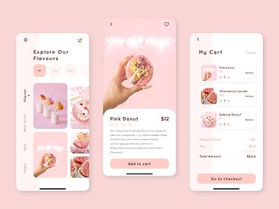Dessert App ecommerce app design pastel color mobile ui dessert