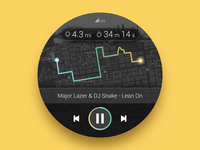 (front view) Smartwatch Fitness + Music UI