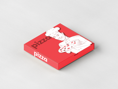 Red Pizza Box label minimalism vector modern graphics typography design illustration package packaging box pizza red