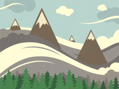 Mountain Illustration mountain landscape texture illustration trees clouds peaks