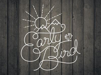 Early Bird Script Type script typography mountains birds