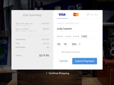 Credit Card Checkout - Daily UI #002 credit card store shop shopping cart checkout dailyui