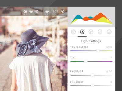 Settings - Daily UI #007 settings 007 light exposure design card adjustments photo ux dailyui ui clean