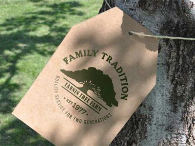 Fannin Tree Farm Tag quality family tradition cardboard twine stamp logo
