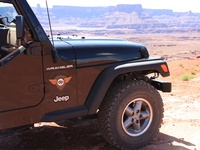 dp Badge on Jeep in Moab