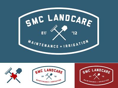 SMC Landcare Logo Opt 1 badge rake shovel yard mowing lawncare irrigation lawn est texas vector