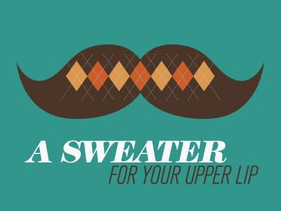 Sweater Stache 1 mustache typography argyle retro vintage moustache