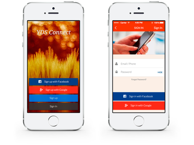 YDS Connect - Set 1 app ux design interface native ui design flat android mobile sketch