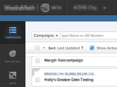 Left side navigation pane for client project icons interface design ui menu buttons navigation
