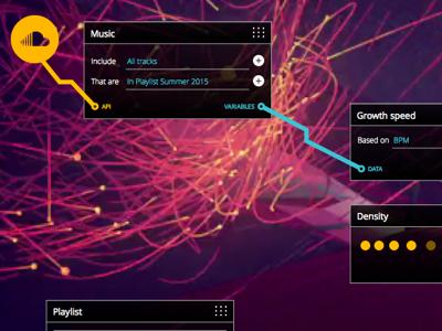Node-based visual programming interface concept. pro tools visual programming programming ui design visual editor node based