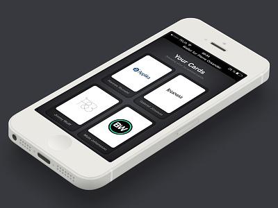 Bitcard Wallet iOS Interface bitcard wallet business card