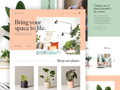saplings plants webpage storefront interior design webdesign website web interior ui ecommerce online store landing plants