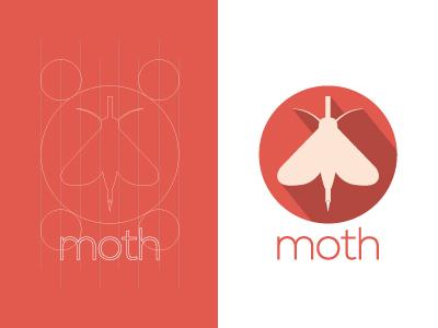 Moth Mode Concept flat long shadow logo brand moth