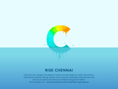 Chennai Flood Relief Poster sketch freebies sea blue help typography water polygons origami colours creative design