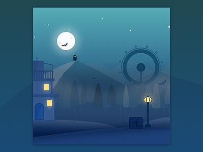 Night Vision. evil spooky concept blue sketch light evening ghost night illustration