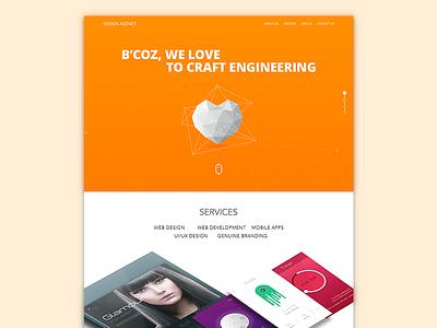 Web Home Screen freebie sketch portfolio sexy design elegant agency ui ux vibrant orange creative website