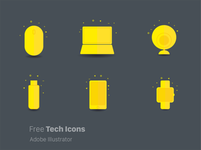 Free Funky Tech Icons. modern material design illustration mac devices gadgets latest free funky technology icons