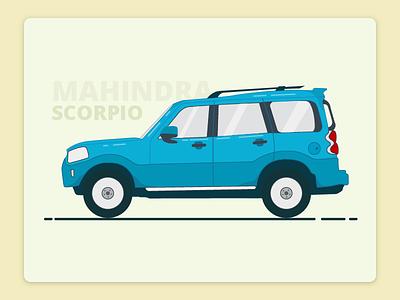 Mahindra Scorpio  Illustration new fresh icon wheel ride drive minimal creative blue freebies car illustration