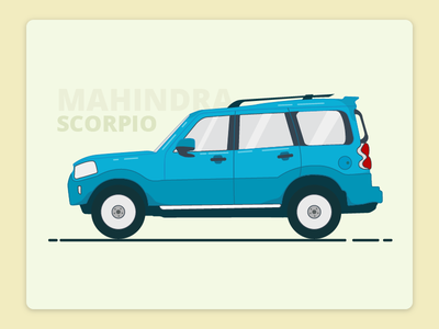 Mahindra Scorpio  Illustration new fresh icon wheel ride drive minimal creative blue freebies car illustration