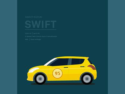 Maruti Suzuki Swift Illustration vinyls automobile minimal yellow hatchback adobe flyer sports race illustration cars