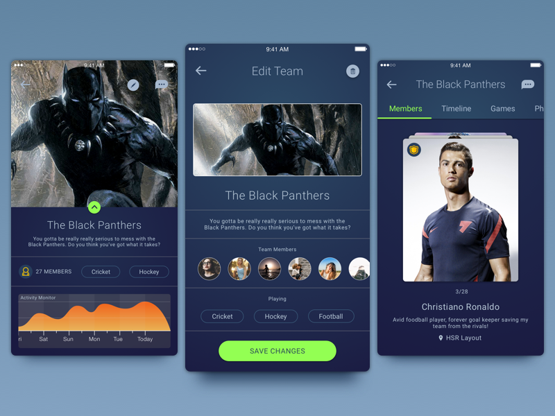 A team management feature in a sports co-ordination application. mobile sports team ios management cards material minimal android design darktheme
