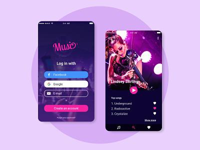 Music Player App sketchapp sketch minimal flat signup logo ui design music app music player music mobile app ui design