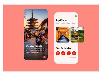 Japan UI Challhenge travel mobile ui adobexd adobe xd adobe mobile app minimal daily ui dailyui daily ui mobile flat design app