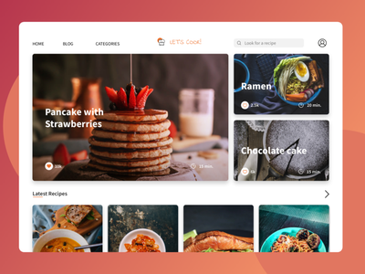 Let's cook flat design dailyui daily ui cooking recipe app application desktop design desktop app web apps web app native app recipe cook desktop